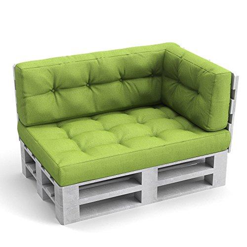 Palettenkissen Palettenmöbel Seitenkissen 60x40x20 cm Palettensofa Palettenpolster Kissen Sofa Polster Indoor Outdoor Grün