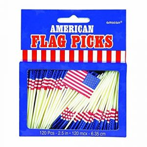 Amscan Partypicker mit USA-Fahne, 120 Sück