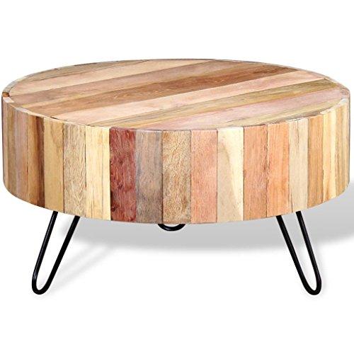 FZYHFA Couchtisch aus Holz Recovery-massiv 70x 38cm (Durchmesser x H) beige