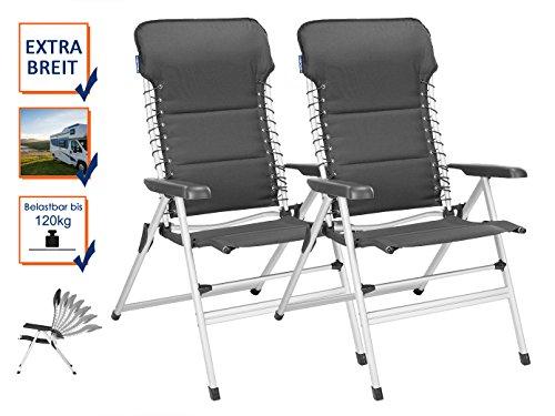 2er Set stabile XXL Campingstühle gepolstert - klappbar & leicht - Relaxsessel mit Komfort