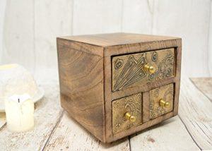 Piquaboo Holz Mini-Kommode, mit Schubladen, holz, gold, 12.5 cm