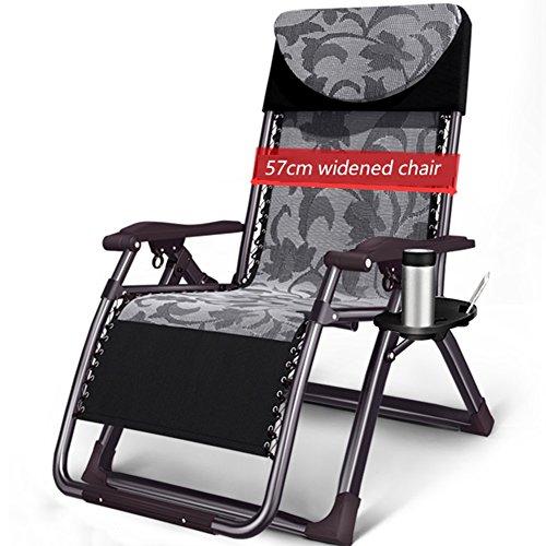 ZGL Relaxsessel & -Liegen Klapp Lounge Stuhl Widen Stuhl Mittagspause Couch Büro Klappstuhl Erwachsene Recliners Garten Klappstuhl Gartenstuhl (Farbe : Schwarz)