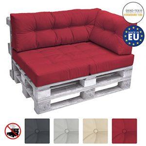 Beautissu Palettenkissen Premium Seitenkissen ECO Elements Palettenpolster Kissen Europalette 60x40x10-20cm in Rot