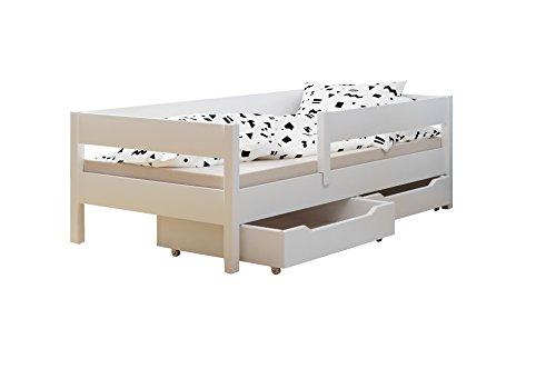 Kinder Kleinkinder Einzelbett mit Schubladen und Matratze 4Farben viele verschiedenen Größen, Versandkostenfrei, holz, weiß, 180x90