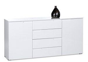 AVANTI TRENDSTORE – Spice – Kommode mit 2 Türen, Hochglanz weiß, ca. 165x80x40cm