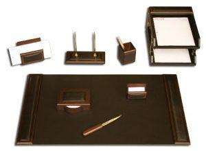 Dacasso Schreibtisch-Set, Walnuss und Schwarz Leder, 10-tlg.