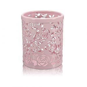 Leisial Stiftebecher, Make-up-Behälter, Aufbewahrung, Schreibtisch, Geschenk, Blumenmuster, rund, Rosa
