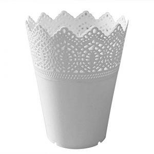 Laat Kunststoff-Blumenvase, Schreibtisch-Aufbewahrungskorb, Stifthalter, Make-up-Pinselhalter, Übertopf – Dekoration für Zuhause, plastik, weiß, 14*10*7CM