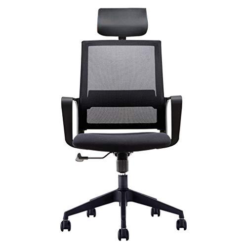 XHHWZB Bürostuhl Schwarz Ergonomische Swivel Mesh Task Chair Hoher Rücken Gepolsterter Schreibtischstuhl Mit Faltbarer Armlehne Kopfstütze Höhenverstellbar