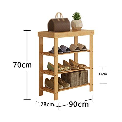 ZLSMXJ Bambus Schuhregal, Badregal, Bambus Standregal, Bücherregal, Schuhschrank für Schuhe, ideal für Wohnzimmer, Diele, Flur, Bad (größe : 90cm)