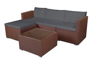 MCombo 5tlg Poly Rattan Gartenmöbel Sitzgarnitur Sitzgruppe Sofa Braun