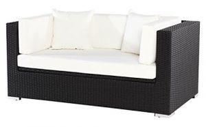 Outflexx 2-Sitzer Sofa, inklusive Polster und Kissenbox funktion, Polyrattan, Schwarz, 152 x 85 x 70 cm