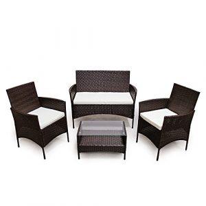 SVITA Poly Rattan Sitzgruppe Essgruppe Set Farbwahl – Cube Sofa-Garnitur Gartenmöbel Lounge Farbwahl (4er Garnitur, Braun)