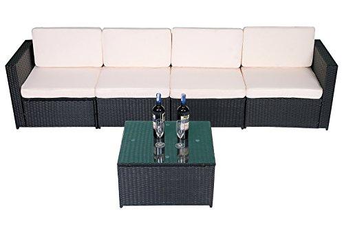 MCombo 5tlg Rattan Poly Gartenmöbel Sitzgarnitur Sitzgruppe Sofa