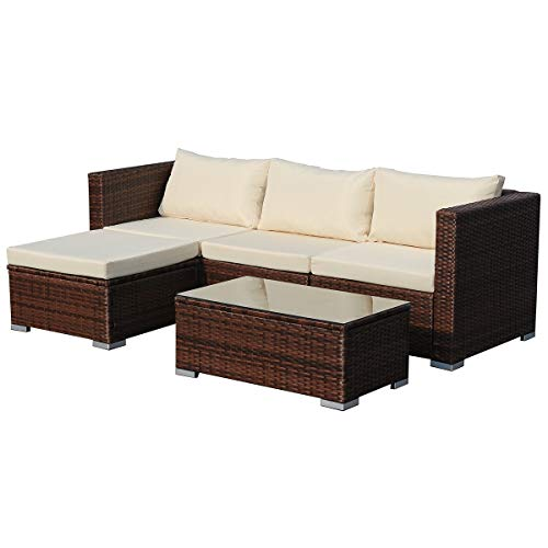 SVITA Queens Poly Rattan Sitzgruppe Couch-Set Ecksofa Sofa-Garnitur Gartenmöbel Lounge Grau, Schwarz Oder Braun (Braun)