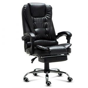 Freizeit Stühle, Bürostühle, Boss Stühle, Kunstleder Stühle, Computer Stühle, kann zu Hause liegen ergonomischer Drehstuhl (Farbe : Schwarz)