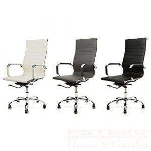 Bürostuhl Kunstleder – Farbe wählbar – Drehstuhl Schreibtischstuhl Chefsessel Bürosessel (Beige)