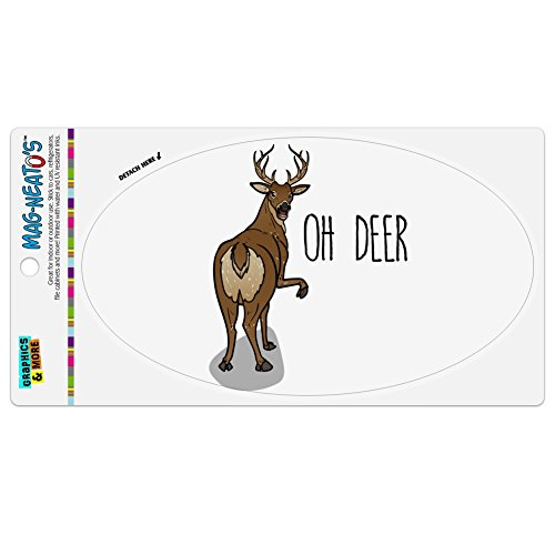Graphics and More Oh Deer Butt Dear Funny Automotive Car Kühlschrank Locker Vinyl Euro Oval Magnet