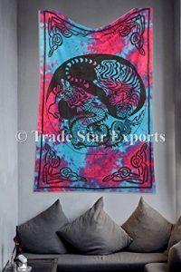 Ying Yang Wandteppich, Tiger und Dragon, Tie Dye, zum Aufhängen indischen Bohemian Überwurf, Baumwolle Tagesdecke, Strand Decke, Creative Art Wand, Schlafsaal, Raum Dekorationen Twin Size Betten (Mehrfarbig)