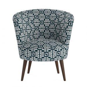 Jellywood® MCRAL Polster Loungestuhl/Sessel mit Armlehnen,Holzbeine/füße,dicke Polsterung mit Federung,Sitzhöhe 43 cm Grün