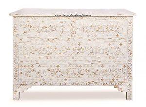 Luxury Handicrafts Mother of Pearl Inlay Blumen Kommode Vier Schublade Handwerk weiß