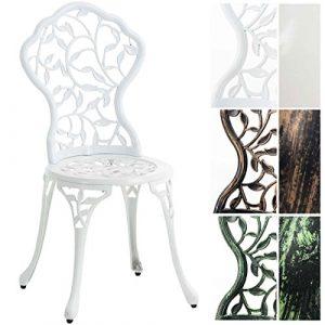 CLP Gartenstuhl Goyal aus Aluminium-Guss, nostalgisches Design, witterungsbeständiger Bistrostuhl, rostfrei durch Pulverbeschichtung Weiß
