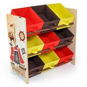 Homestyle4u 1118 Kinderregal Pirat, Spielzeugregal 9 farbige Boxen als Ablage aus Stoff, Holz Mehrfarbig