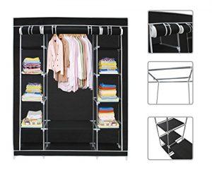 Todeco begehbarer Kleiderschrank aus Stoff mit Drei Türen und Reißverschluss, 172x 134x 43cm, Schwarz