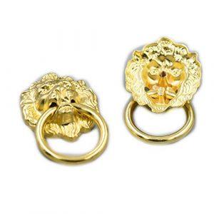 fujiyuan 5PCS Kommode Schrank Holz Schublade Ring DIY Vintage Lion Head Möbel 67mm x 40mm Tür ziehen Griff Knopf mit Schrauben gold