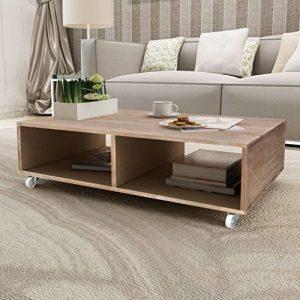 SENLUOWX Couchtisch mit vier Rollen Braun Massiv Holz Beistelltisch Wohnzimmer Tisch mit 2große Fächer für Aufbewahrung Einfache Montage