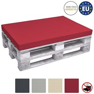 Beautissu Palettenkissen ECO Pure Sitzkissen Palettenauflage Palettenpolster für Europaletten 120x80x8 cm in Rot