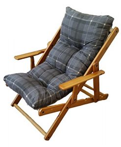 Relax-Sessel Liegestuhl, 3Positionen, aus Holz, zusammenklappbar, gepolstertes Kissen, Höhe: 100cm, Farbe: dunkelgrau