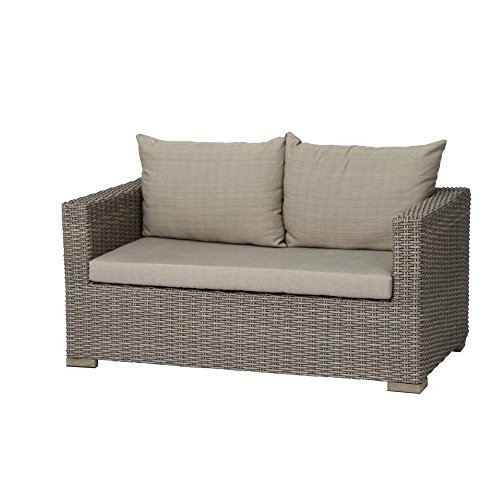 Siena Garden Lounge 2er Sofa Veneto, 84x148x67cm, Gestell: Aluminium, Fläche: Gardino-Geflecht in sepia, FSC 100%, Kissenbezug aus Polyester mit 250g/m² in beige