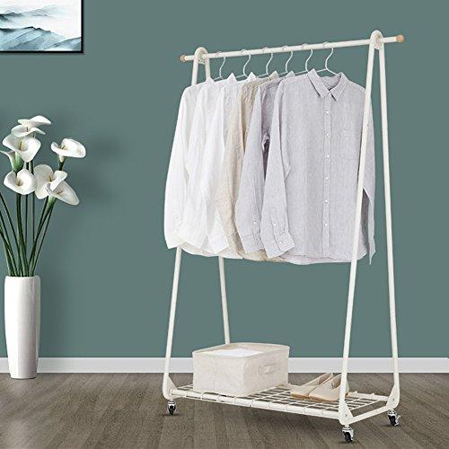 LXLA- Kann überall wandeln Kleiderregal Boden stehende Kleiderbügel einfache Kleiderständer Nordeuropa Schlafzimmer moderne Holzbrett Gitter 83 × 46 × 147 cm ( Farbe : Grid style )