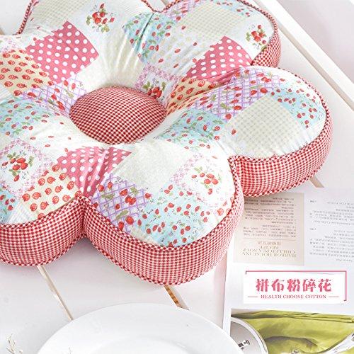 POPRY Winter Baumwolle Baumwolle atmungsaktiv Auto Kissen Kissen Blume Taille Kissen Fenster Bürostuhl, Durchmesser 40 cm, Sie zerdrückt Blumen