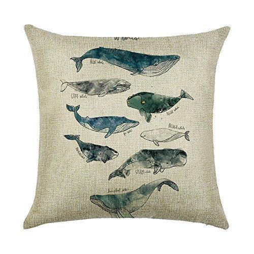 hengjiang Creative Retro Marine Life Serie Überwurf Kissen Double Side Kissen Baumwolle Leinen Vintage Sofa Home Decor Geschenk Fisch Shell Wal 18