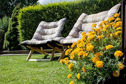 Nature LOUNGE Liegesessel XL – 132x70x40 cm - Stabiler Relax Liegestuhl mit Hohem Sitz und Liegekomfort