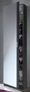 Angelo–Kristal Schuhregal 1Tür + Spiegel (6gaps-12Sticks) 007866G–Grau Ash–(188x 51,5x 6,2)
