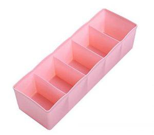 daorier 3Kunststoff stapelbar Schubladen fünf Raster Schublade Organisatoren Unterwäsche Socken Aufbewahrung, plastik, rose, 26*8*6cm
