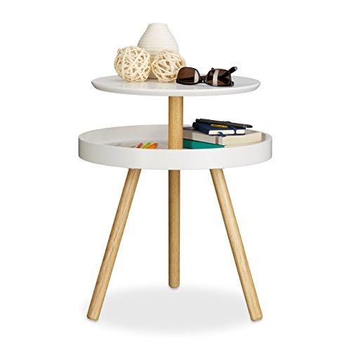 Relaxdays Beistelltisch rund weiß, Holz, Birke, Ablage, Dreibein, Sofatisch, Couchtisch, HxBxT: 55 x 47 x 47 cm, white