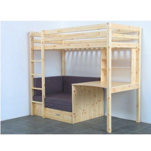 Thuka Hochbett 90x200 Kiefer massiv Bett Kinderbett Gästebett Schreibtisch