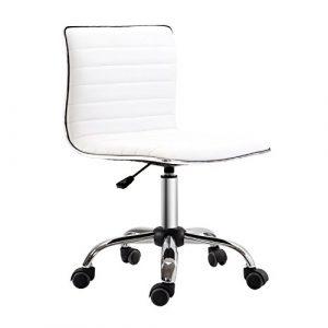 Homcom verstellbar Bürostuhl Drehstuhl Stuhl mit Armless mid-back in PU-Leder und Chrom-Fußkreuz, Weiß