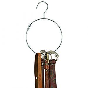 Praktischer Gürtelring Krawattenring Schalring aus Metall – verchromt – mit Haken – schafft Ordnung und Platz im Kleiderschrank – 2 Stück