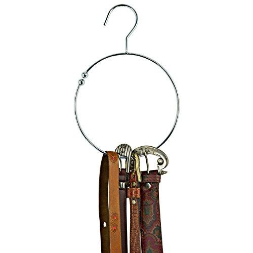 Praktischer Gürtelring Krawattenring Schalring aus Metall - verchromt - mit Haken - schafft Ordnung und Platz im Kleiderschrank - 2 Stück