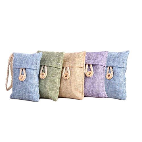 flyingsky 5Packungen Bambus Holzkohle Tasche entfernen Geruch Leinen Style anthrazit Tasche Lufterfrischer Parfum und Luftreiniger Geruch Eliminator für Car Home Schuhschrank Kleiderschrank zufällige Farbe