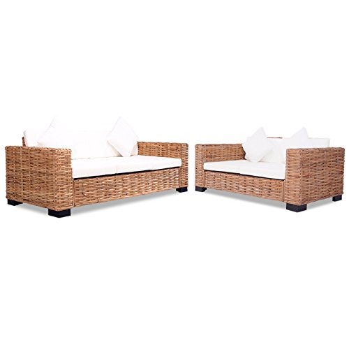 vidaXL 15-tlg. Sofa Set Rattan Natur Sofagarnitur Sessel Loungesofa Couch Set