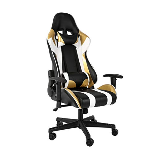 Haliwu Gaming Stuhl Bürostuhl Computer Spiel Stuhl ,Verstellbare Armlehnen, ergonomisch,Gold-Weiss. (Gold)
