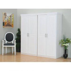 4-türiger Kleiderschrank HAKON Massiv in weiß