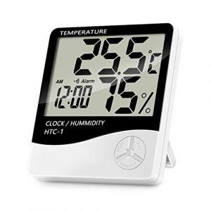 Thermometer Hygrometer, Lanhiem Indoor Digital Thermo-Hygrometer-Monitor Präzise Temperatur und Luftfeuchtigkeit, Multifunktions-Datum und Uhrzeit, Alarmfunktion ° C / ° F-Schalter