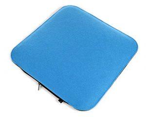 Filz Sitzkissen in kobaltblau und graumeliert zum Wenden, waschbare Stuhlauflage mit Füllung inkl. Reissverschluss. Moderne Sitzauflage mit runden Ecken, weich gepolstert. Designer Sitzpolster / Filzauflage, quadratisch ca. 35x35cm groß
